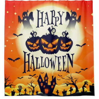 Happy Haunted Halloween Shower Curtain