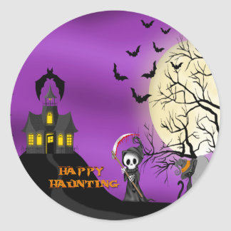 Happy Haunting Reaper Envelope Seals Round Sticker
