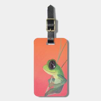 Happy Hawaiian Frog on Young Bamboo Luggage Tag