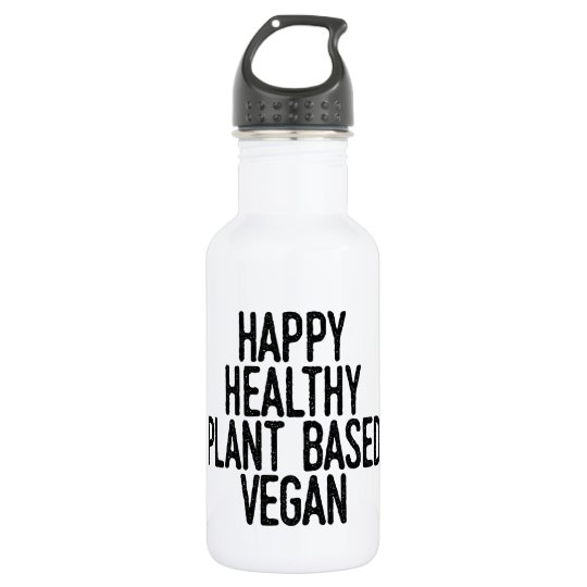 Happy Healthy Plant Based Vegan (blk) 532 Ml Water Bottle