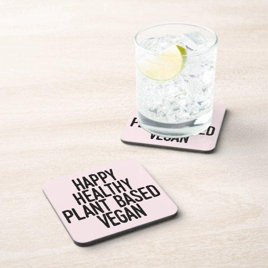 Happy Healthy Plant Based Vegan (blk) Coaster