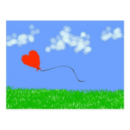 Happy Heart Balloon Postcard