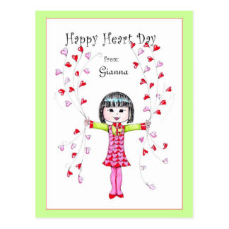Happy Heart Day (w/bangs) postcard
