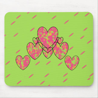 Happy Hearts(c) -Lime-Pink_ Mouse Pad