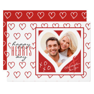 happy HEARTS day from Couple | Red & White Hearts Card