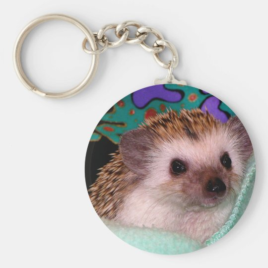 Happy Hedgehog Basic Round Button Key Ring