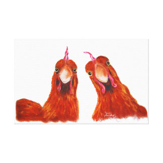 Happy Hens Chicken ' HARRIET & HUMBUG ' Canvas Print