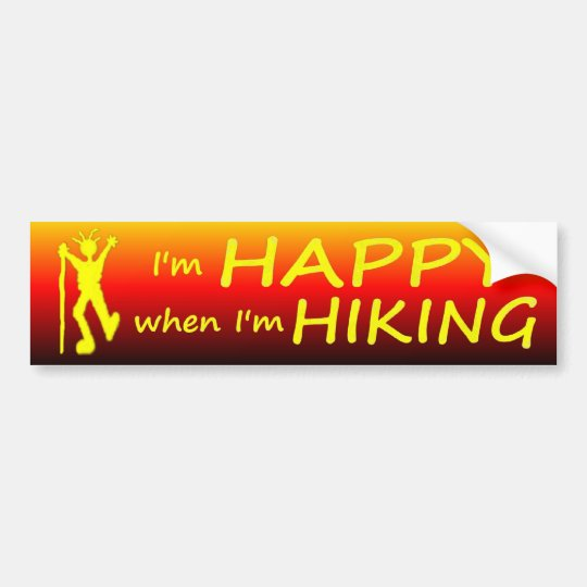Happy Hiking Sunset Bumper Sticker