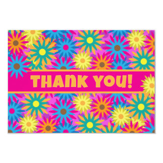 Happy Hippie Flower Power Thank You Notes 9 Cm X 13 Cm Invitation Card