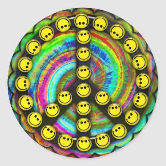 Happy Hippie Smiley Peace Classic Round Sticker