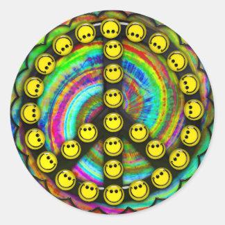 Happy Hippie Smiley Peace Round Sticker