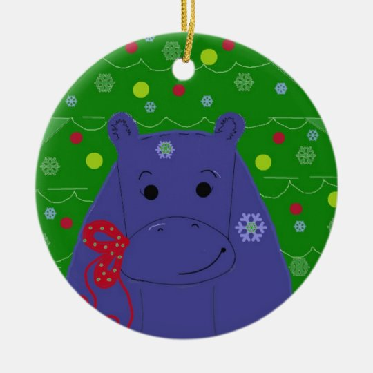 Happy Hippo Christmas Design Christmas Ornament