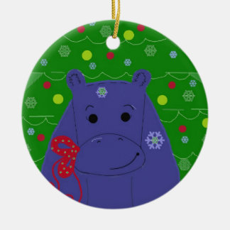 Happy Hippo Christmas Design Round Ceramic Decoration