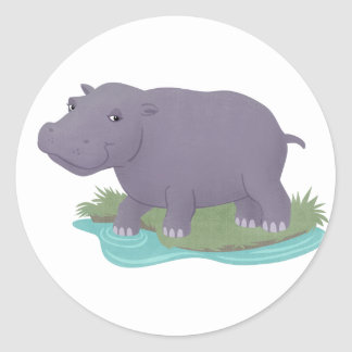 Happy Hippo Classic Round Sticker