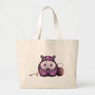 Happy Hippo Crochet Hippo Large Tote Bag