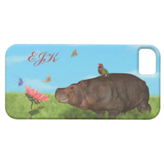 Happy Hippo, Flower, Butterflies, Monogram Barely There iPhone 5 Case