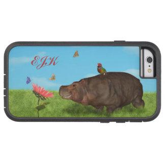 Happy Hippo, Flower, Butterflies, Monogram Tough Xtreme iPhone 6 Case