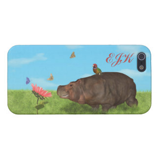 Happy Hippo, Flower, Butterflies, Monogram Cover For iPhone 5/5S