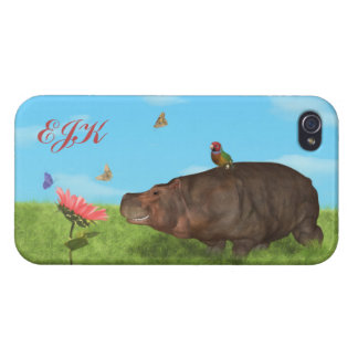 Happy Hippo, Flower, Butterflies, Monogram Covers For iPhone 4