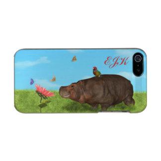 Happy Hippo, Flower, Butterflies, Monogram Incipio Feather® Shine iPhone 5 Case