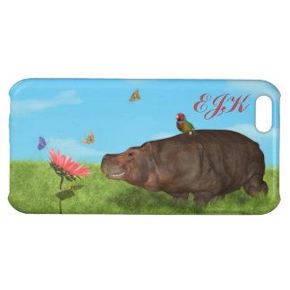 Happy Hippo, Flower, Butterflies, Monogram iPhone 5C Case