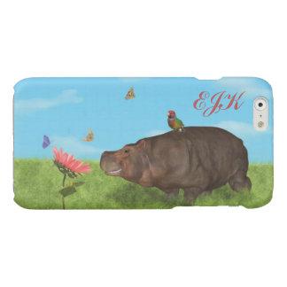 Happy Hippo, Flower, Butterflies, Monogram iPhone 6 Plus Case