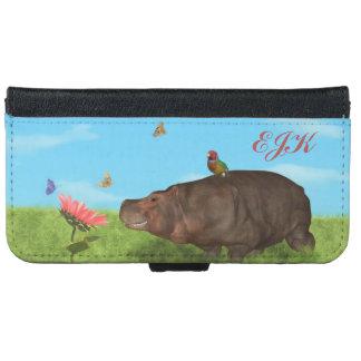Happy Hippo, Flower, Butterflies, Monogram iPhone 6 Wallet Case