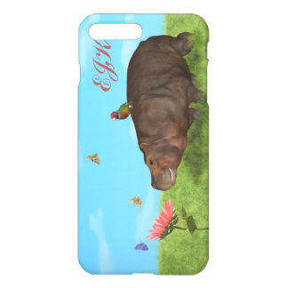 Happy Hippo, Flower, Butterflies, Monogram iPhone 8 Plus/7 Plus Case