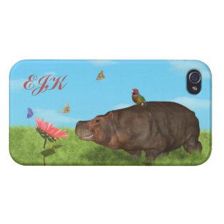 Happy Hippo, Flower, Butterflies, Monogram Cases For iPhone 4
