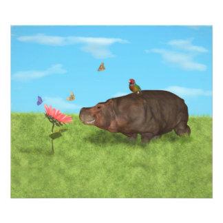 Happy Hippo, Flower, Butterflies Art Photo
