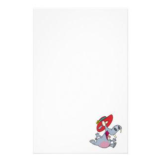 happy hippo in a hat cartoon stationery paper