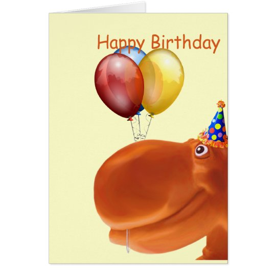 Happy Hippo Orange Birthday Card