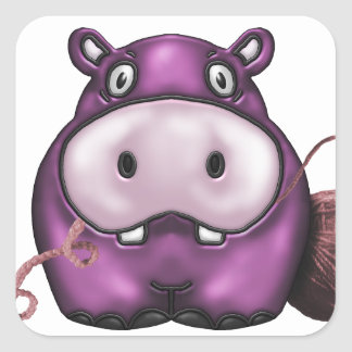 happy hippo products square sticker
