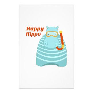Happy Hippo Stationery Design