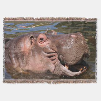 Happy hippo throw blanket
