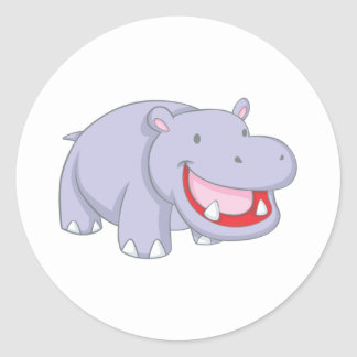 Happy Hippopotamus Classic Round Sticker