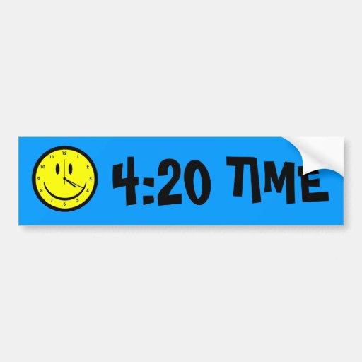 Happy Hippy face clock Bumper Stickers