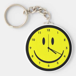 Happy Hippy face clock Key Ring