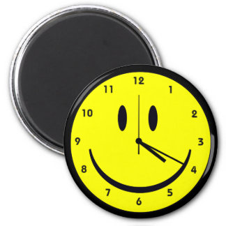 Happy Hippy face clock Magnet