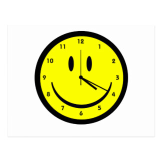 Happy Hippy face clock Postcard