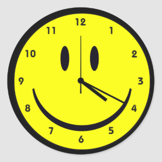 Happy Hippy face clock Round Sticker