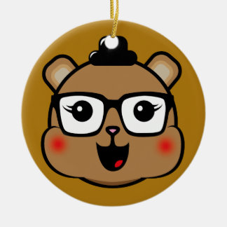 Happy Hipster Bear Round Ceramic Decoration