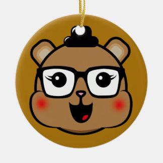 Happy Hipster Bear Round Ceramic Decoration