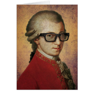 Happy Hipster Mozart Funny Glasses Card