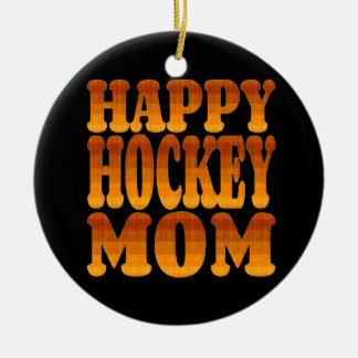 Happy Hockey Mom in Gold Christmas Ornament