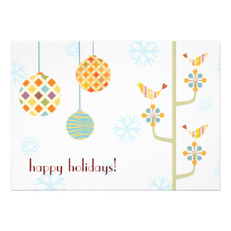 Happy Hoiday Love Birds Flat Holiday Card Invitations