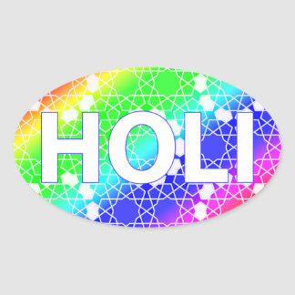 happy holi : festival of color and spring oval sticker