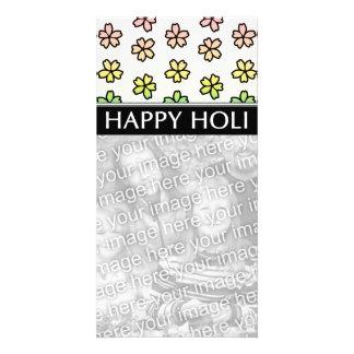 happy holi spring festival photo card