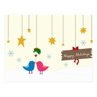 Happy Holiday Birds Postcard