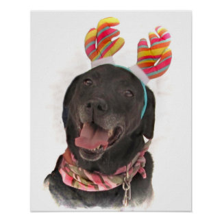 Happy Holiday Black Labrador Retriever Dog Poster